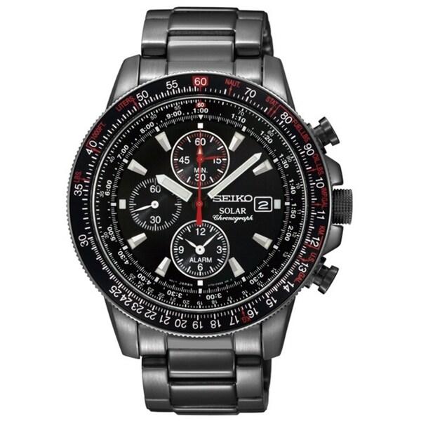 SEIKO Men's Solar Chronograph Black Ion Tachymeter Watch
