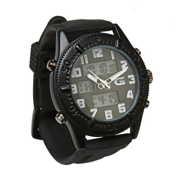 Croton Men's Analogue/ Digital Black Rubber Strap Watch