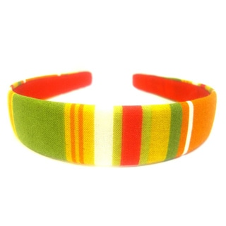 One-Inch Red, Orange and Green Striped Headband