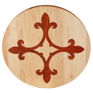 Kentucky Cutting Boards Round Cutting Board with Fleur de Lis Ring Inlay