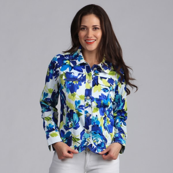 Live A Little Women's Blue Floral Printed Casual Jacket