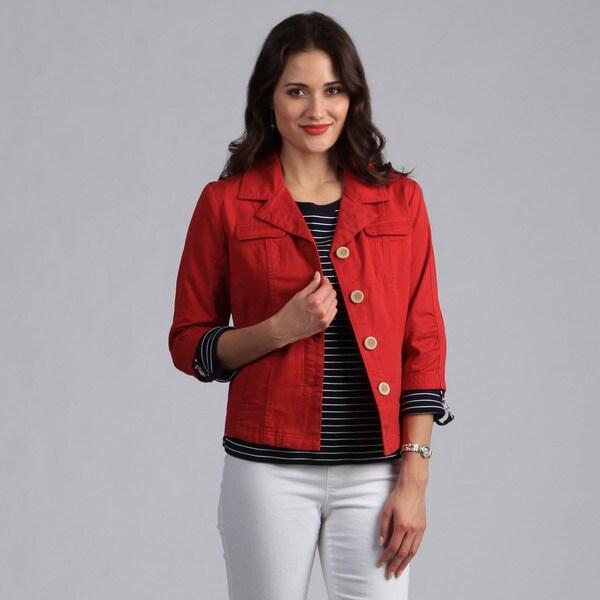 Live A Little Women's Apple Spice Button-front Lightweight Jacket