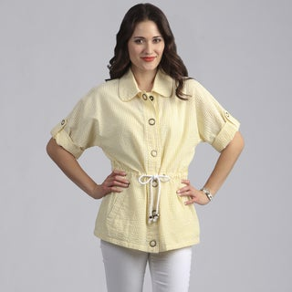 Live A Little Women's Yellow Lightweight Half Sleeve Jacket