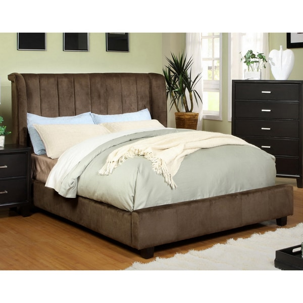 Furniture of America Luxi Dark Brown Queen-Size Padded Velvet Platform Bed
