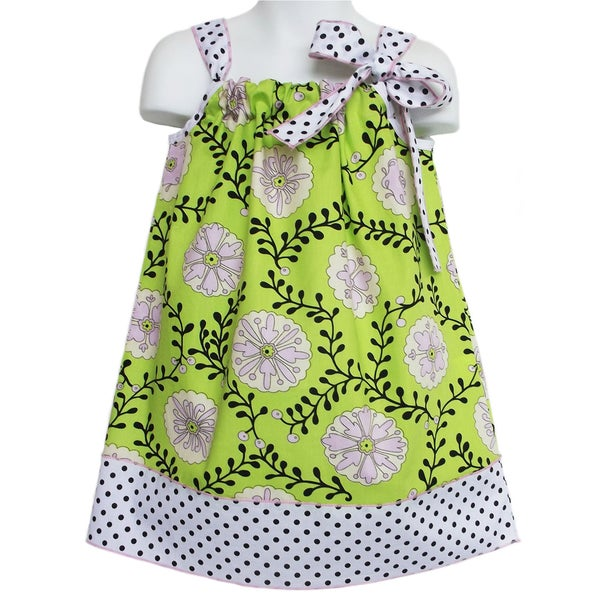 AnnLoren Girl's 'Floral and Vines' Sleeveless Pillow Case Dress