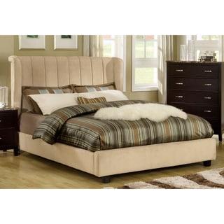 Furniture of America Luxi Beige Velvet Platform Queen Bed