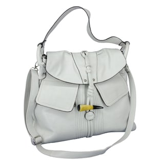 Women's Soft Grey Horn Padlock Hobo Bag