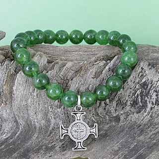 Handmade Emerald Jade Beads/ Antique Cross Charm Stretch Charm Bracelet