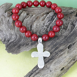 Handcrafted Sea Bamboo Coral Beads/ Hammered Cross Stretch Charm Bracelet