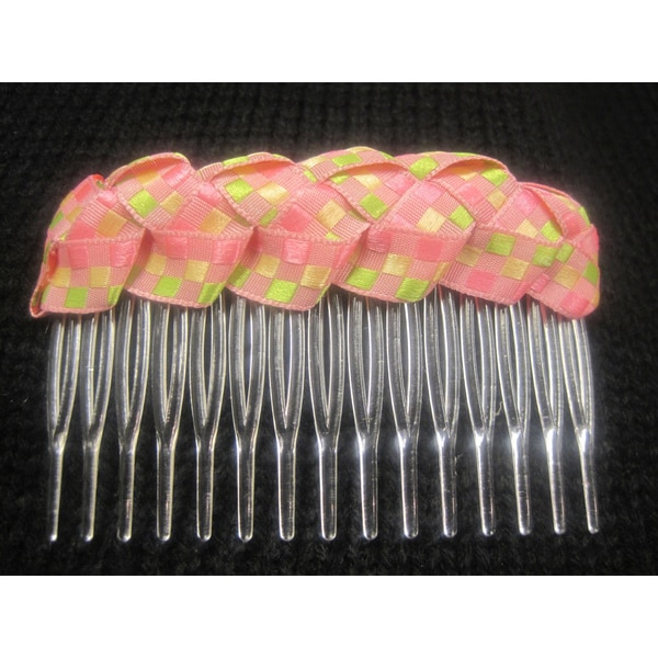 Crawford Corner Shop Women's Pink Green and Yellow Braided Comb