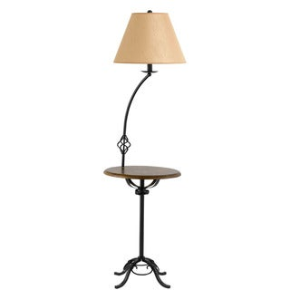 Cal Lighting Wrought Iron Floor Lamp with Wood Tray Table