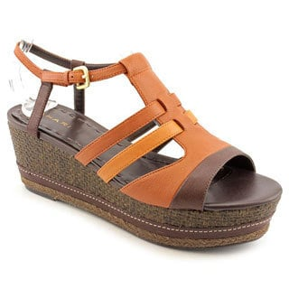 Tahari Women's 'Jane' Brown/Orange Leather Sandals