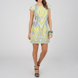 Women's Grey Geometric Print Sheath Dress