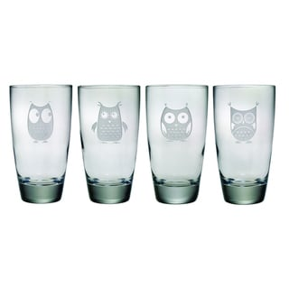 Owl Sand-etched Hi-ball Glasses (Set of 4)