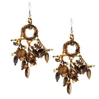 Earthtone Beaded Chandelier Earrings (Guatemala)