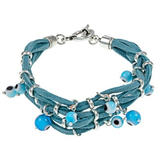 Evil Eye Leather Turquoise Bracelet With Beads (Guatemala)