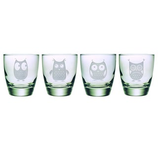Owl Sand-etched Double Old Fashioned Glasses (Set of 4