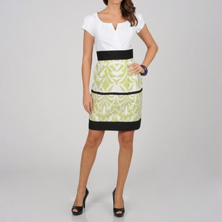 Women's Lime Abstract Border Two-tone Sheath Dress