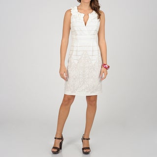 Women's White Subtle Print Shift Sleeveless Dress