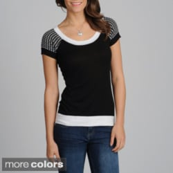 Yal Women's Polka-dot Shoulders Knit Top