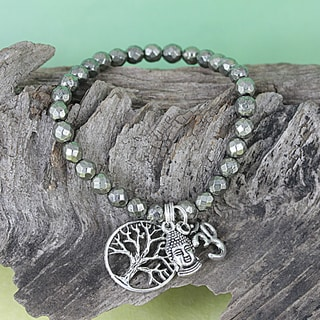 Handmade Pyrite Beads/ Antique Silverplated Om/ Buddha/ Tree of Life Stretch Charm Bracelet