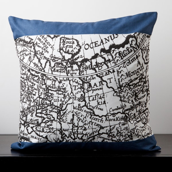 Samantha White and Blue Novelty Map 22-inch Decorative Pillow