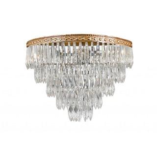 European Classic 4-light Flushmount Crystal Olde Brass Chandelier
