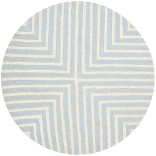 Hand tufted moroccan cambridge ivory light blue wool rug 6 round