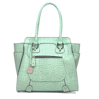 London Fog 'Knightsbridge' Teal Croc-embossed Tote