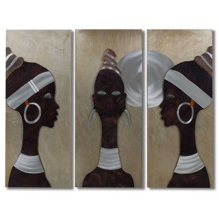 African Trio 3-Panle Metal Wall Art