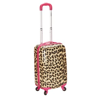 Rockland Designer Pink Leopard 20-inch Lightweight Hardside Carry On Spinner Upright Suitcase