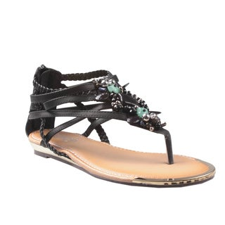 Refresh by Beston Women's 'Jetta-03' Black Jeweled Gladiator Sandals