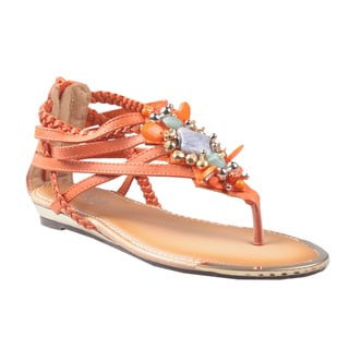 Refresh by Beston Women's 'Jetta-03' Orange Jeweled Gladiator Sandals