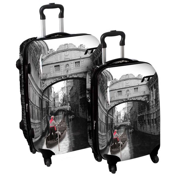 International Traveller 'Venice Bridge' 2-piece Fashion Hardside Spinner Luggage Set