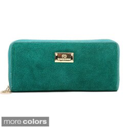 Anais Gvani Women's Suede and Leather Zip-Around Wallet