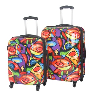International Traveller 'Painted Fish' 2-piece Fashion Hardside Spinner Luggage Set