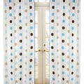 Blue and Brown Mod Dots 84-inch Curtain Panel Pair