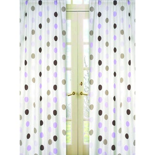 Purple and Brown Mod Dots 84-inch Curtain Panel Pair
