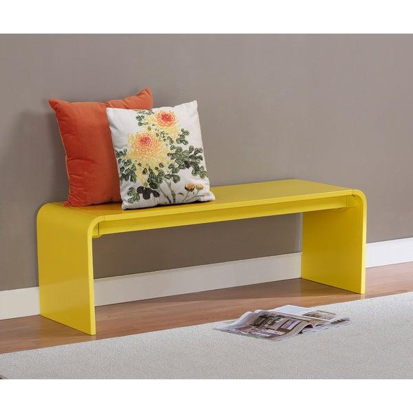 Contemporary Lemon Yellow Wood Bench