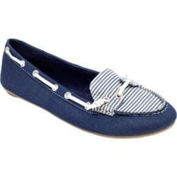 Women's Footzyfolds Boat Shoe Navy/Blue Stripe