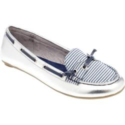 Women's Footzyfolds Boat Shoe Silver/Blue Stripe