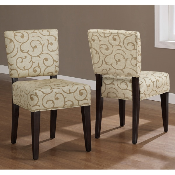 Savannah damask dining chairs set of 2 kitchen room living for Fabric dining room chairs