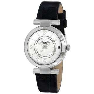 Kenneth Cole Women's KC2746 Black Leather Silver Dial Quartz Watch