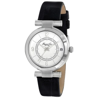 Kenneth Cole Women's Black Calf Skin Silver Dial Quartz Watch