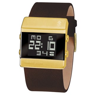 Black Dice Men's 'Heist' Brown Leather Digital Quartz Watch