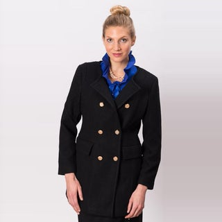 Grace Gallo New York Women's 'Christine' Black Wool Blend Double Breasted Coat