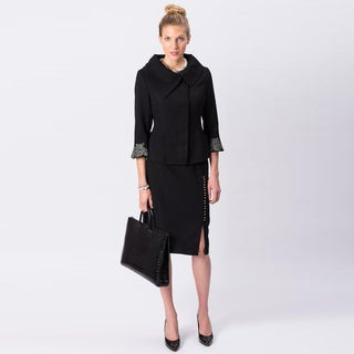 Grace Gallo New York Women's 'Marilyn' Black Wool Blend Skirted Suit
