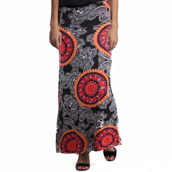 Tabeez Women's Medallion Print Jersey Skirt