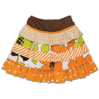 Beetlejuice London Girl's Orange Tiered Print Skirt