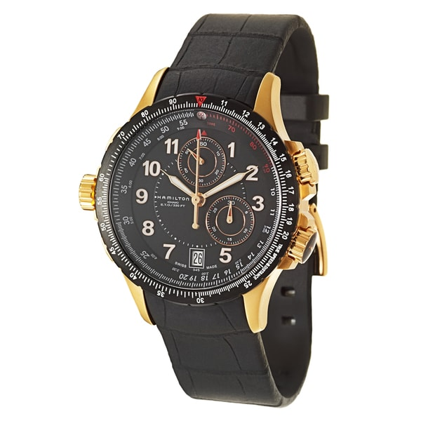 Hamilton Men's 'Khaki Aviation' Yellow Gold PVD-coated Steel Chronograph Watch